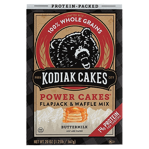Restoring the Flapjack Tradition  Way back when, lumberjacks and pioneers relied on food packed with protein and essential nutrients from whole grains to get them through long days on the frontier. Though most of us have traded in our axes for laptops, we still crave delicious, nourishing food.    Kodiak Cakes Flapjack and Waffle Mix is meant for those of us who, like the rugged pioneers exploring the untamed wilderness, require nutrition and great taste to successfully navigate today's frontier.    Whole Grains Taste Better    Congratulations! You've Struck Whole Grain Gold.