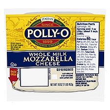 Polly-O Whole Milk Mozzarella Cheese, 16 Ounce