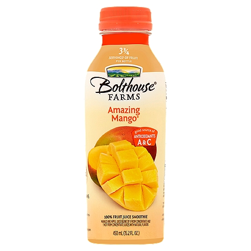 100% fruit juice smoothie. Nearly 2 mangos per bottle. High in Vitamins A and C. Vegan.