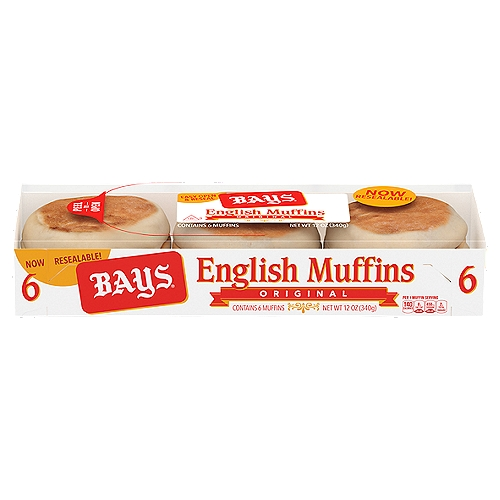 Bays Original English Muffins come pre-sliced and are baked from the original Bays family recipe. Theyre perfect paired with butter, as a breakfast sandwich, or a tasty snack any time of day.