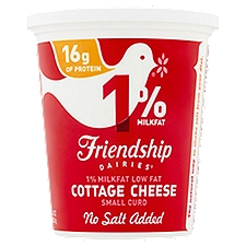 Friendship Dairies 1% Lowfat No Salt Added Cottage Cheese, 16 Ounce