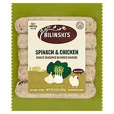 Bilinski's Chicken Sausage - Spinach Garlic, 12 Ounce