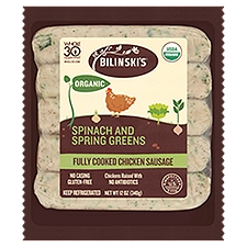 Bilinski's Organic Chicken Sausages - Spinach and Feta, 12 Ounce