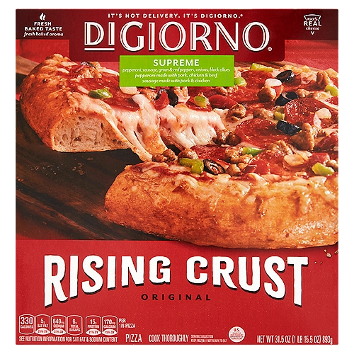 12-inch frozen pizza with Italian sausage, pepperoni, red and green bell peppers, black olives, onion, mushrooms, vine-ripened tomato sauce and Mozzarella cheese. Softer, chewier self-rising crust. 0 g Trans fat. Preservative free crust. Contains chicken, beef and pork.
