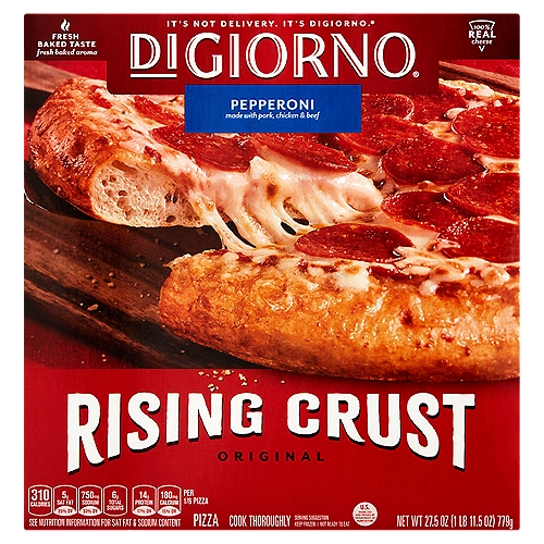 12-inch frozen pizza with pepperoni, vine-ripened tomato sauce and Mozzarella cheese. Softer, chewier self-rising crust. 0 g Trans fat. Preservative free crust. Contains chicken, beef and pork.