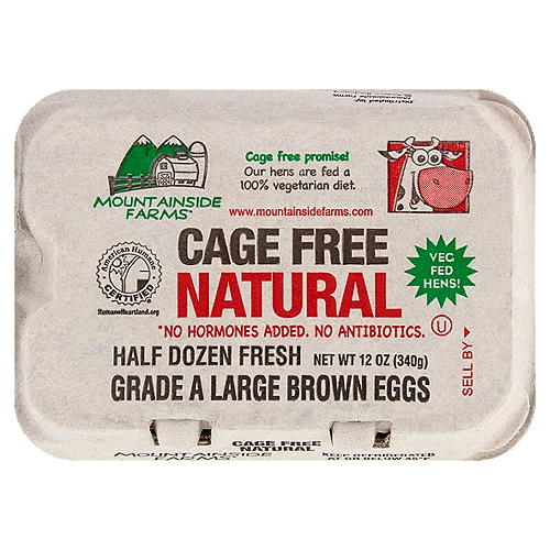 Mountainside Farms Cage Free Natural Large Brown Eggs, 6 count, 12 oz