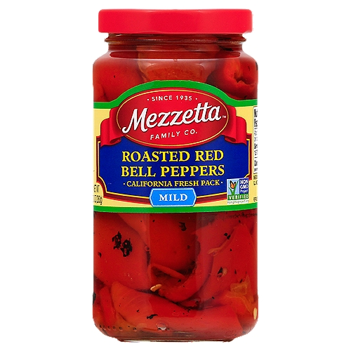 Brand Mild Hot Roasted Bell Peppers. Don't forgetta Mezzetta! In the Napa Valley. California hand selected fresh pack.
