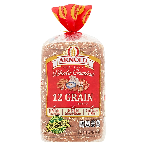 Arnold 12 Grain bread is filled with nutritional ingredients like whole wheat, sunflower seeds, oats, barley, and brown rice.