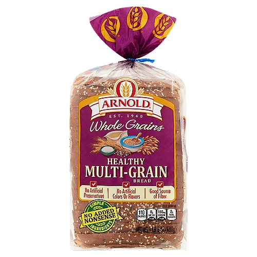 Arnold Healthy Multi-Grain bread is filled with a nutritious mix of grains and seeds giving you a hearty flavor and texture youll love.