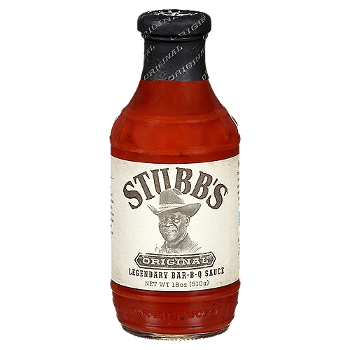 Create bold Texas flavor with Stubb's® Original Legendary Bar-B-Q Sauce! Keep this tangy tomato-vinegar-molasses-and-black pepper mouth-watering flavor on hand for chicken, beef or pork.
