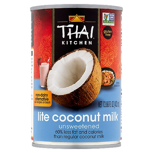 Thai Kitchen Gluten Free Lite Coconut Milk has 60% less fat and calories than regular coconut milk. Add guilt-free body and flavor to your family's favorite Asian dishes, beverages and even desserts!
