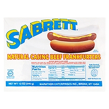 Sabrett Natural Casing Beef Frankfurters, 12 Ounce