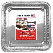Handi-Foil Jiffy Foil Square Cake Pans With Lids, 2 Each