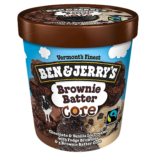 Chocolate and vanilla ice creams with fudge brownies and a brownie batter core. This flavor takes its brownies seriously.