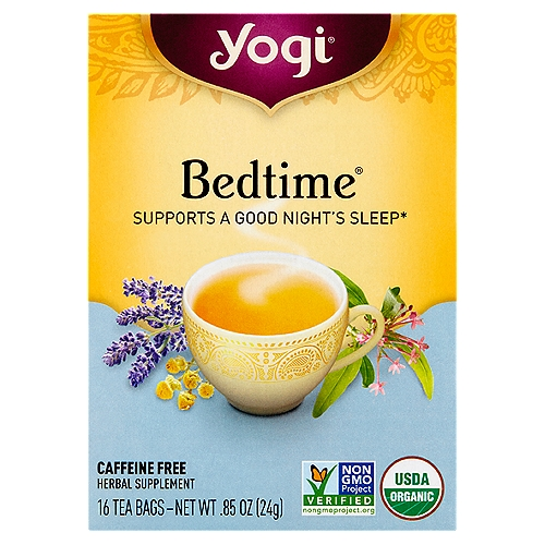 Herbal Supplement    Supports a Good Night's Sleep*    Say Goodnight with Bedtime  This comforting and delicious blend combines soothing passionflower and relaxing chamomile flower. Licorice, cardamom and cinnamon add delicious warming flavor that's just right for drinking before bedtime. Relax and unwind with a cup of Bedtime tea.*  *These statements have not been evaluated by the FDA. This product is not intended to diagnose, treat, cure, or prevent any disease.
