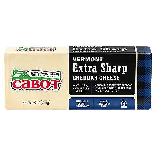 Creamy white in color and almost crumbly in texture, this Extra Sharp Cheddar packs a punch, followed by a citrusy tang. Magnificent melted into cheese sauce, or atop a juicy burger.