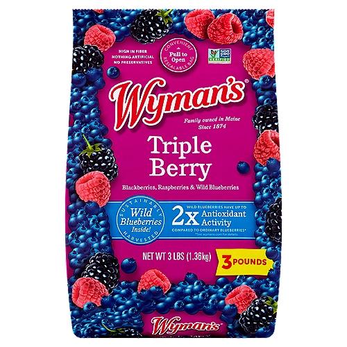 Includes blueberries, raspberries, and blackberries, frozen