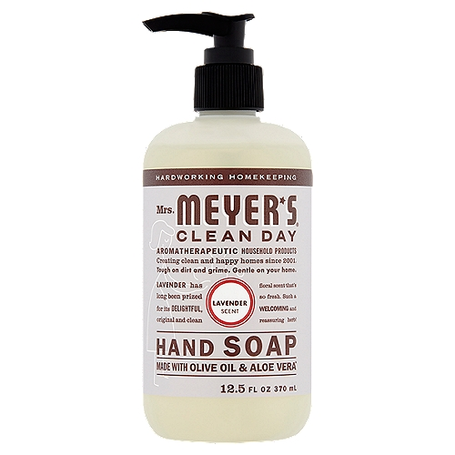 Mrs. Meyer's Clean Day Hand Soap contains a special recipe of aloe vera gel, olive oil and a unique blend of essential oils and other naturally derived ingredients.