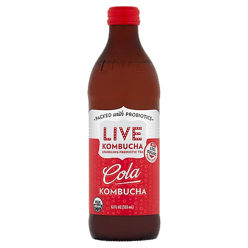 Sparkling Probiotic Tea    Trying to drink less soda?  Look no further than this bottle. Low in sugar, high in probiotics and big on soda taste, Live Kombucha is an easy way to make a healthier choice.    80% Less Sugars than Soda*  *this product has 8g of sugar compared to 40g in cola flavored soda    Live Cola Kombucha Brings You a New Take on the Classic with that Crisp & Refreshing Cola Taste and a Whole Lotta Feel-Good to Go with It. Our Version is More than Just Another Cola: It's a Probiotic Powerhouse.