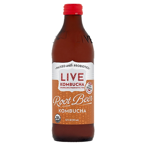 Sparkling Probiotic Tea    Trying to drink less soda?  Look no further than this bottle. Low in sugar, high in probiotics and big on soda taste, Live Kombucha is an easy way to make a healthier choice.    80% Less Sugars than Soda*  *this product has 8g of sugar compared to 40g in cola flavored soda    Our Most Popular Flavor for Good Reason, Live Root Beer Kombucha is Rich and Creamy, Bold and Refreshingly Smooth. Grab a Mug, a Bottle or a Float and Toast to Your Health!
