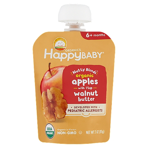 Happy Baby Organics Nutty Blends Organic Apples with Walnut Butter Baby Foods, 6+ Months, 3 oz