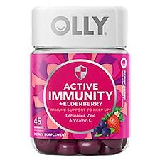 Olly Dietary Supplement, Berry Brave Active Immunity + Elderberry Gummies, 45 Each