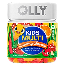 Olly Dietary Supplement, Sour Fruity Punch Kids Multi Gummy Worms, 70 Each