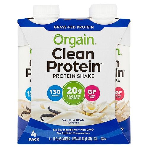 Orgain Clean Protein Vanilla Bean Protein Shake, 11 fl oz, 4 count