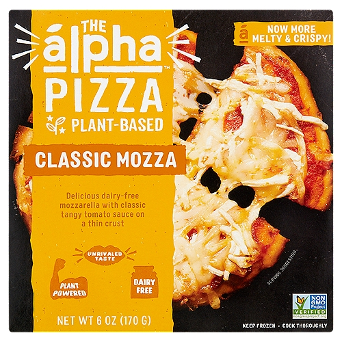 Delicious Dairy-Free Mozzarella with Classic Tangy Tomato Sauce on a Thin Crust  A New Frontier in Plant-Based Eat Like an  lpha Alpha is on a mission to bring you unrivaled taste fueled by the power of plants. The Alpha Pizza  is a delicious meatless meal perfect for an easy on-the-go lunch, dinner or anytime snack - without any sacrifice on taste or texture for the perfect creaveable bite. After bite. After bite.