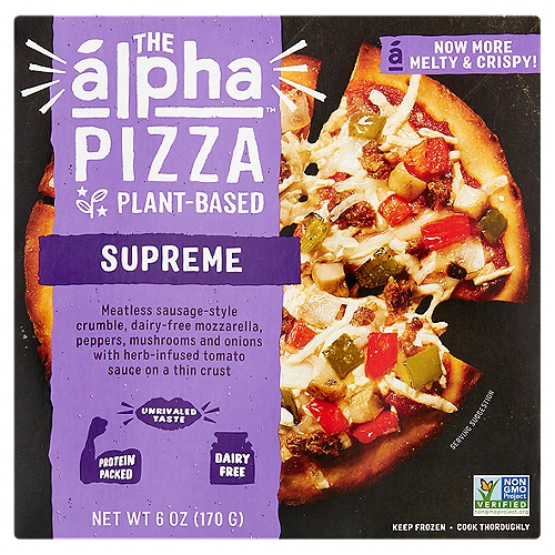 Meatless Sausage-Style Crumble, Dairy-Free Mozzarella, Peppers, Mushrooms and Onions with Herb-Infused Tomato Sauce on a Thin Crust  A New Frontier in Plant-Based Eat Like an  lpha Alpha is on a mission to bring you unrivaled taste fueled by the power of plants. The Alpha Pizza  is a delicious meatless meal perfect for an easy on-the-go lunch, dinner or anytime snack - without any sacrifice on taste or texture for the perfect creaveable bite. After bite. After bite.