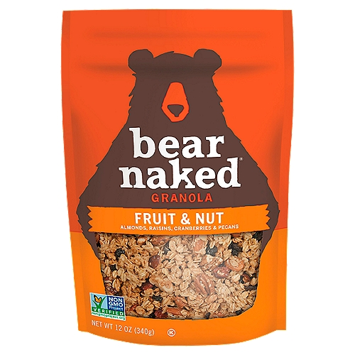 Approved by Bears Every bag of Granola starts with us foraging for Irresistible flavors and bountiful chunks of goodness. This Soft-Baked Granola is made with whole grain oats, tart cranberries, hearty almonds, pecans and raisins with a taste so Craveable you'll want to maul the bag. So, next time your stomach growls, grab a pawful of Bear Naked Granola. The Bear Naked Bears