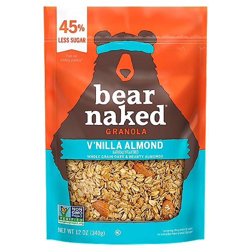 45% Less Sugar than our leading granola* *per serving; this granola 7g sugar, the leading Bear Naked granola 13g sugar Approved by Bears Every bag of Bear Naked Granola starts with us selecting big hearty chunks of nature, like whole grain oats and hearty almonds. Our V'nilla Almond Granola has 45% Less Sugar, 6g Protein, and 5g Fiber with a taste so Craveable you won't be able to keep your paws off it.