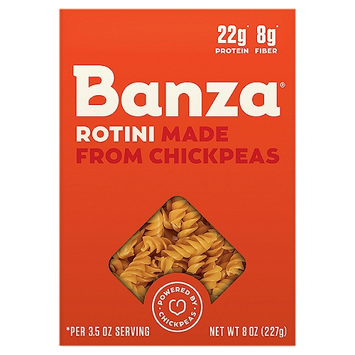 22g* Protein 8g* Fiber *Per 3.5 Oz Serving  Chickpeas make delicious pasta. That's why we used them to create Banza. Now it's your turn. So bake your ziti, mac your cheese, and pesto the rest-o, because your favorite family meal is back on the menu!  Banza  Vs Average Pasta Banza : 25g Protein; Average Pasta: 13g Protein Banza : 13g Fiber; Average Pasta: 3g Fiber Banza : 43g Net Carbs*; Average Pasta: 71g Net Carbs* Per 3.5Oz Serving *Net Carbs = Total Carbs - Dietary Fiber
