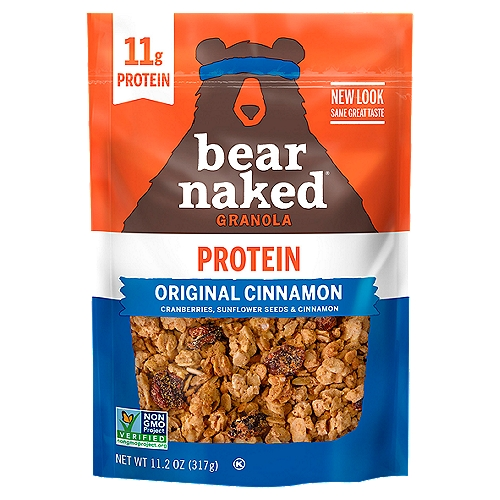 Approved by Bears Every bag of Bear Naked Granola starts with us selecting big hearty chunks of nature, like cranberries, sunflower seeds and cinnamon. Our Original Cinnamon Granola has 11g Protein and 5g Fiber with a taste so Craveable you won't be able to keep your paws off it.
