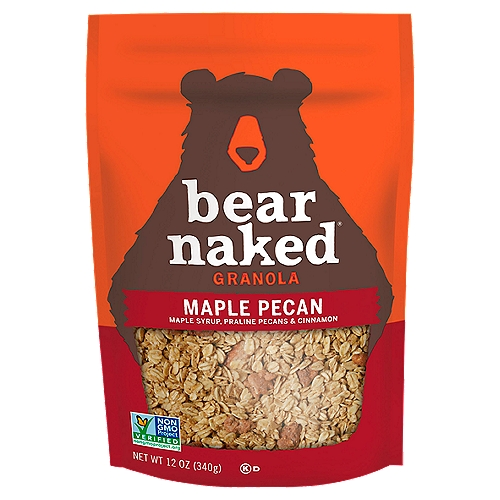 Approved by Bears Every bag of Granola starts with us foraging for Irresistible flavors and bountiful chunks of goodness. This soft-baked Granola is made with Whole Grain oats, maple syrup, delicious praline pecans and cinnamon with a taste so Craveable you'll want to maul the bag. So, next time your stomach growls, grab a pawful of Bear Naked Granola.  The Bear Naked Bears