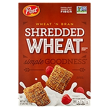 Post Shredded Wheat Wheat 'n Bran Spoon Size Cereal, 18 Ounce