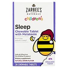 Zarbee's Naturals Children's Sleep with Melatonin, Grape Chew Tabs, 30 Each
