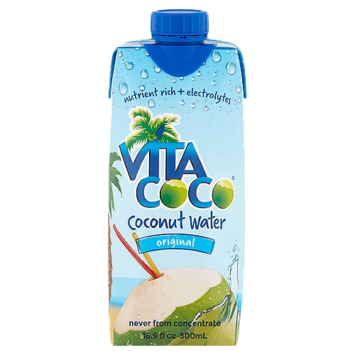 100% pure coconut water. Has more potassium than two bananas. 100% natural. Has more than 15 times the electrolytes found in sports drinks. Does not contain gluten. Imported from Brazil.