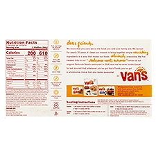 Vans Wheat Free Gourmet Waffles - Apple Cinnamon, 9 Ounce