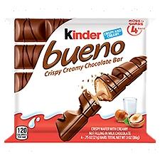 Kinder Bueno Crispy Creamy Chocolate Bar, 4 ct, 3 Ounce