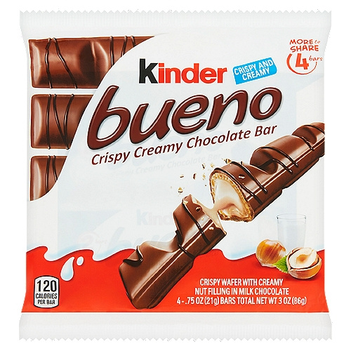 More to share. Crispy wafer with creamy nut filling in milk chocolate. 4 - .75 oz bars total.