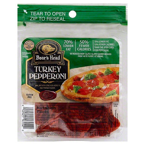 Pre-sliced turkey pepperoni in a convenient zip-pouch. No fillers. No by-products. No artficial colors or flavors. No Trans fat. No gluten.