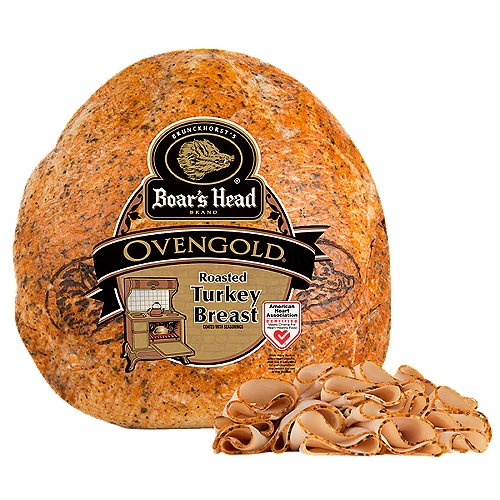"""Lower Sodium. Gluten Free. Milk Free. No MSG Added. Carefully crafted from a family recipe, seasoned with savory spices from around the world and slow roasted to perfection, our Ovengold Turkey Breast is like no other. Freshly sliced at your Deli counter. Product slicing options include """"Standard Thickness, Shaved, Sliced Thin or Sliced Thick"""". Please note your slicing preference in the comment section of your cart."""
