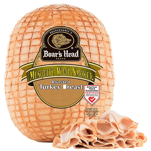 """Lower Sodium. Gluten Free. Milk Free. No MSG Added. Premium, high quality turkey breast carefully smoked with mesquite wood for a distinctive, delicate flavor. Freshly sliced at your Deli counter. Product slicing options include """"Standard Thickness, Shaved, Sliced Thin or Sliced Thick"""". Please note your slicing preference in the comment section of your cart."""