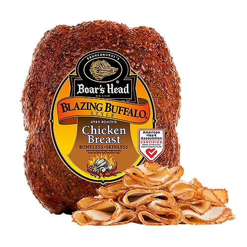 """Our skinless, boneless chicken breast is coated Buffalo wing style with cayenne red pepper, vinegar and spices. Certified heart-healthy and preservative free. Freshly sliced at your Deli counter. Product slicing options include """"Standard Thickness, Shaved, Sliced Thin or Sliced Thick""""."""