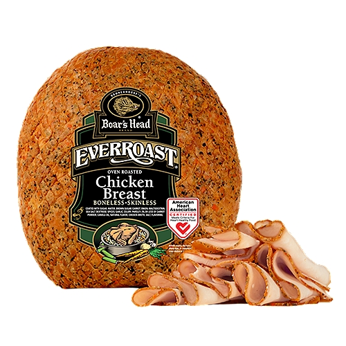 """Gluten Free. Milk Free. No MSG Added. EverRoast Chicken Breast is expertly seasoned with carrots, celery, onions and a medley of spices, then slow roasted so every slice is as savory as it is delicately tender. Quite simply, it's the best roast chicken. Ever. Freshly sliced at your Deli counter. Product slicing options include """"""""Standard Thickness, Shaved, Sliced Thin or Sliced Thick""""."""