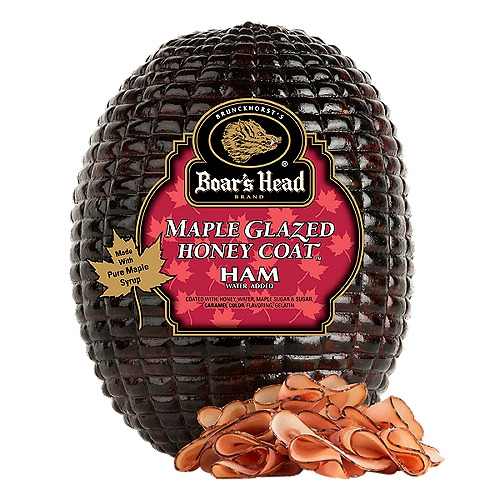 """Gluten Free. No MSG Added. Water Added. A sweet treat that is nutritious and delicious. This ham has 100% pure maple syrup and golden honey baked right in, making it a great choice for sandwiches and salads alike. Freshly sliced at your Deli counter. Product slicing options include """"Standard Thickness, Shaved, Sliced Thin or Sliced Thick"""". Please note your slicing preference in the comment section of your cart."""